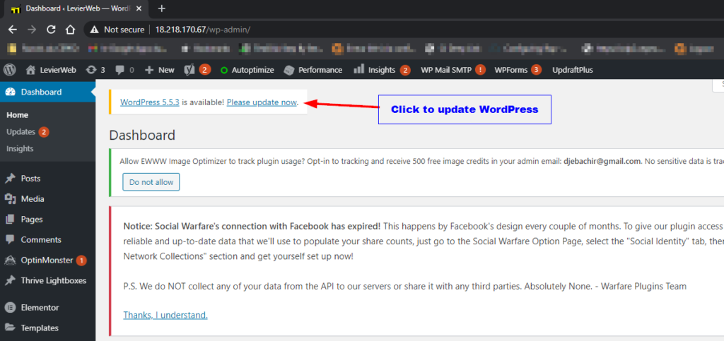 WordPress-dashboard-Update